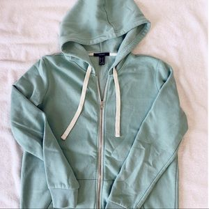 Forever 21 Turquoise Zip Up Hoodie